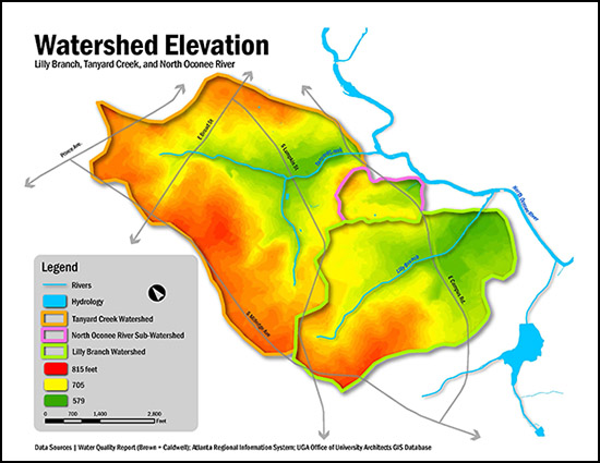 Watershed elevation map.